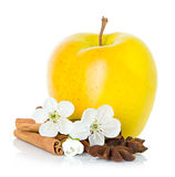 Ripe yellow apple with cinnamon sticks, anise star and apple flowers Royalty Free Stock Images