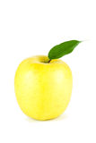 A Ripe Yellow Apple With Leaf Royalty Free Stock Images