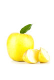 A Ripe Yellow Apple With Leaf Stock Images