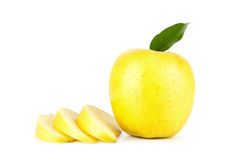 A Ripe Yellow Apple With Leaf Royalty Free Stock Photos