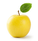 Ripe yellow apple with leaf. Isolated on white background Stock Image
