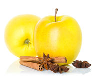 Ripe yellow apples with cinnamon sticks and  anise Royalty Free Stock Image