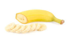 Ripe Yellow Banana and Slices Stock Photos