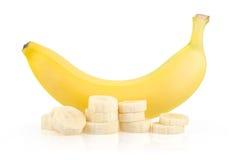 Ripe Yellow Banana and Slices Royalty Free Stock Photo