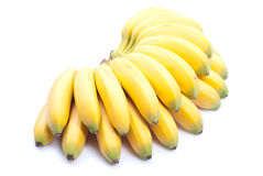 Ripe yellow bananas baby on white isolated background with shado Royalty Free Stock Images