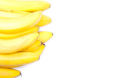 Ripe yellow bananas isolated on white background with shadow Stock Images