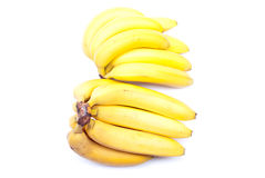 Ripe yellow bananas isolated on white background with shadow Stock Photo