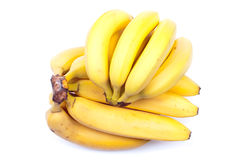 Ripe yellow bananas isolated on white background with shadow Stock Photography