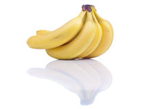 Ripe yellow bananas isolated on white background with shadow Royalty Free Stock Images