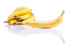 Ripe yellow bananas isolated on white background with shadow Stock Photos