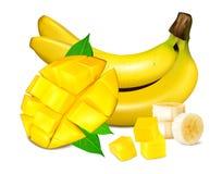 Ripe yellow bananas vector illustration Stock Photos