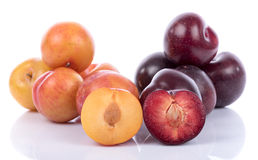 Ripe yellow and cherry plums Royalty Free Stock Images