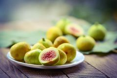 Ripe yellow figs Stock Images