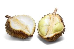 Ripe yellow flesh of Durian cut in half on white background. stock images