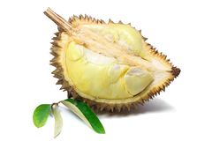 Ripe yellow flesh of Durian and Durian leaf on white background, fruit. stock image