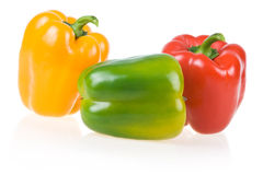 Ripe Yellow, Green and Red Paprika Isolated. On White Background stock images