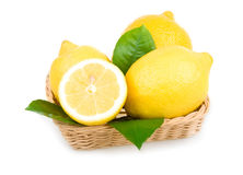 Ripe Yellow Lemons Isolated in Basket Stock Photography