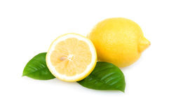 Ripe Yellow Lemons Isolated over White Stock Photo