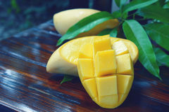 Ripe yellow mangoes fruit. Ripe yellow mangoes fruit with green leaf on wooden background Stock Photo