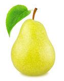 Ripe yellow pear with green leaf isolated Royalty Free Stock Photography