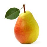Ripe yellow pear with leaf isolated on white Stock Photos