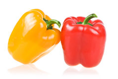 Ripe Yellow and Red Paprika Isolated Royalty Free Stock Photo