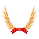 Ripe yellow wheat ears with red ribbon. EPS 10 Stock Photography