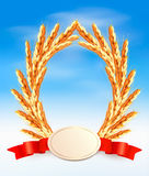 Ripe yellow wheat ears with red ribbons. Vector background Royalty Free Stock Images