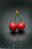 Ripen cherries against black background Stock Images