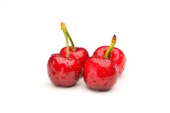 Ripen cherries against white Royalty Free Stock Photos