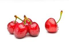 Ripen cherries against white background. Perfect ripen cherries against white background Royalty Free Stock Image