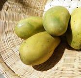 Ripen mango in bamboo basket Stock Image