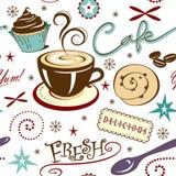 Ripeti la caffetteria ed i dolci freschi caldi del modello Fotografia Stock