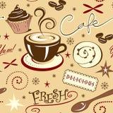 Ripeti la caffetteria ed i dolci freschi caldi del modello Immagine Stock Libera da Diritti
