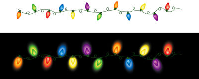 Ripetizione colorata delle luci di Natale Fotografie Stock