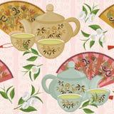Ripetizione del modello con la teiera, le tazze ed i fan orientali illustrazione di stock