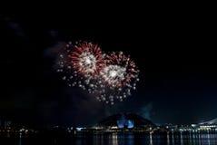 2016-07-02 ripetizione dell'esposizione dei fuochi d'artificio di festa nazionale di Singapore Fotografia Stock Libera da Diritti