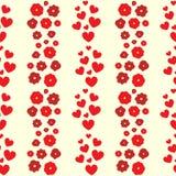 Ripetizione i cuori e dei fiori Reticolo senza giunte floreale sveglio Stampa femminile romantica illustrazione vettoriale