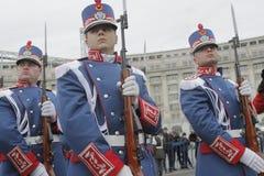 Ripetizione per la parata rumena di festa nazionale Fotografia Stock