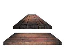 Ripiano del tavolo di legno marrone vuoto, plance verticali su fondo bianco Fotografia Stock Libera da Diritti