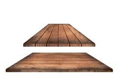 Ripiano del tavolo di legno marrone vuoto, plance verticali su fondo bianco Fotografia Stock