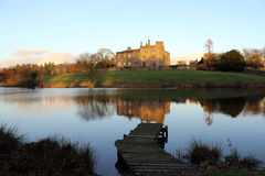 Ripley Castle. Is surrounded by a beautiful park with a pond stock photo