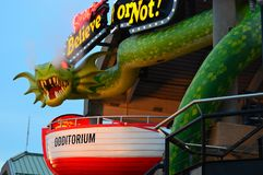 Ripley`s Odditorium, Baltimore. A smoke breathing dragon stands watch over the Ripley`s Believe it or Not Odditorium on Inner Harbor, Baltimore, Maryland royalty free stock images