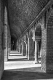 Ripoll monastery columns inside, black and white Royalty Free Stock Images