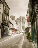 Ripon-Kathedralenansicht von Kirkgate Stockfotografie