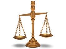 Riporta in scala la giustizia su bianco. 3D isolato. illustrazione di stock