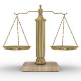 Riporta in scala la giustizia su una priorità bassa bianca Fotografia Stock