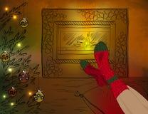 Riposando nella stanza di Natale con il camino e Chris Immagini Stock