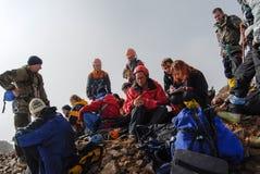 Riposo degli alpinisti Immagine Stock