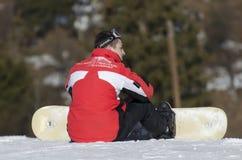 Riposo dello Snowboarder Immagini Stock
